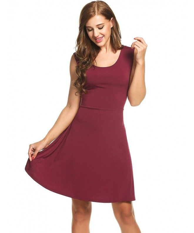bff179116174 Womens Pleated Summer Swing Dresses Casual Sundress Flared Tank Dress - Wine  Red - CD12OC2R2QM