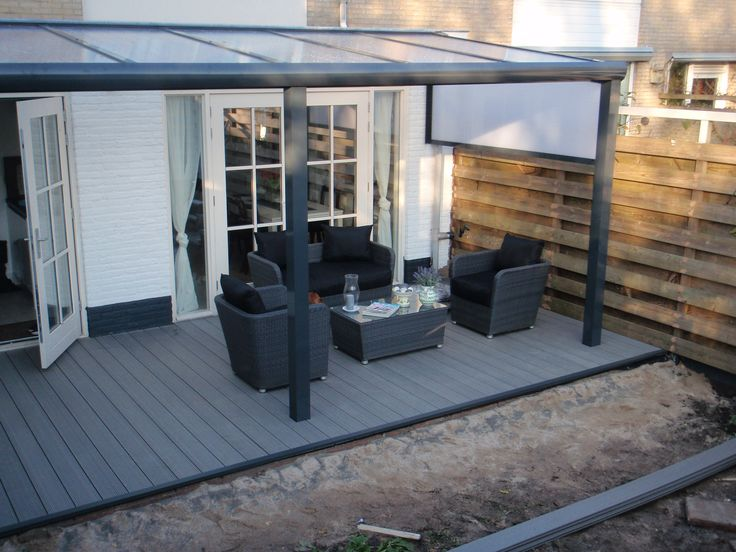 Veranda terrasoverkapping aluminium maar hout kan natuurlijk ook moderne stijl geeft sfeer - Moderne lounge stijl ...