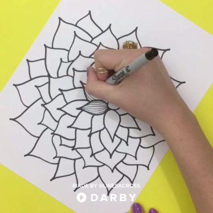 Learn how to draw a dahlia flower with permanent markers #darbysmart #diy #diyprojects #diyideas #diycrafts #easydiy #artsandcrafts #dahlias #art #drawing