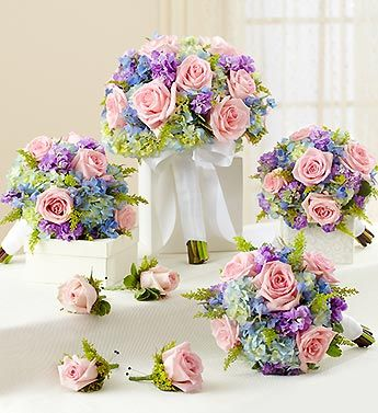 Bridal Party Personal Package Pastel     Exquisite pastel wedding flowers in lavender, pink and blue accented with crisp white ribbons. 1-800-Flowers.com has bridal bouquets is many wedding colors