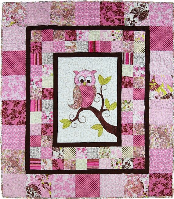 This adorable Baby Owl Quilt for a boy or girl makes a very special Baby Shower Gift or a great addition to your nursery! The appliqué