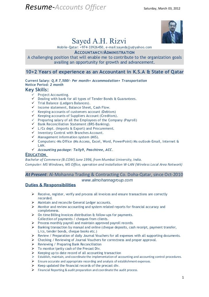 Resume-Accounts Officer                                                          Saturday, March 03, 2012                 ...