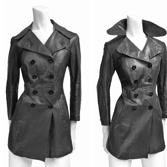 Vintage leather coat jacket 60s 70s double breasted black slim