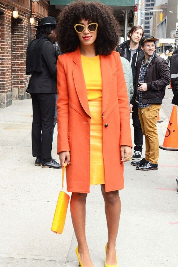solange knowles fashion style 2014 | Solange Knowles at the Late Show studio - celebrity fashion
