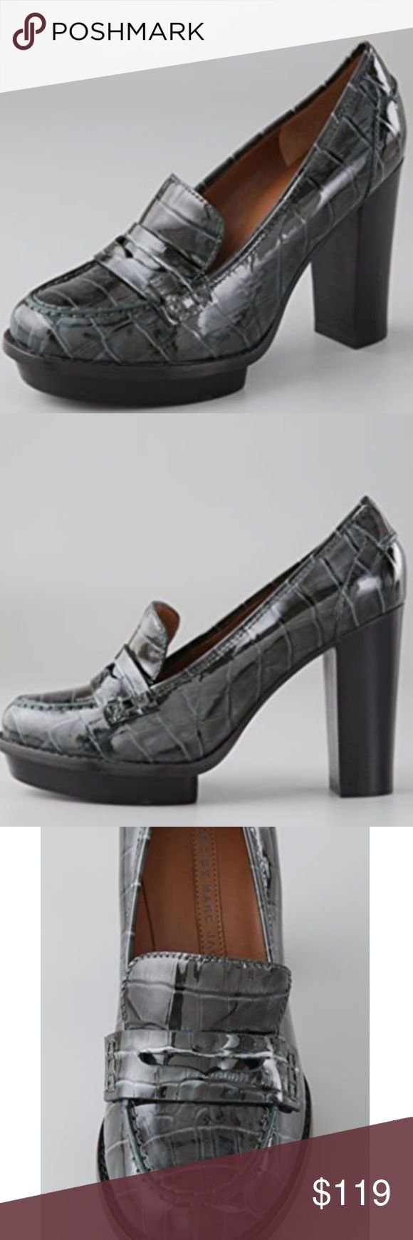 """NEW Marc Jacobs Platform High Heel Loafers Croc Marc by Marc Jacobs. A preppy classic with a cool Marc update, these croc-embossed patent-leather loafers feature a 3/4"""" inset platform and a 3.75"""" stacked heel. Leather sole. Size 40/9.5. Although I feel they may fit 9 better. Super sexy shoes. Greyish-green. Brand new, never worn. Marc Jacobs Shoes Heels"""