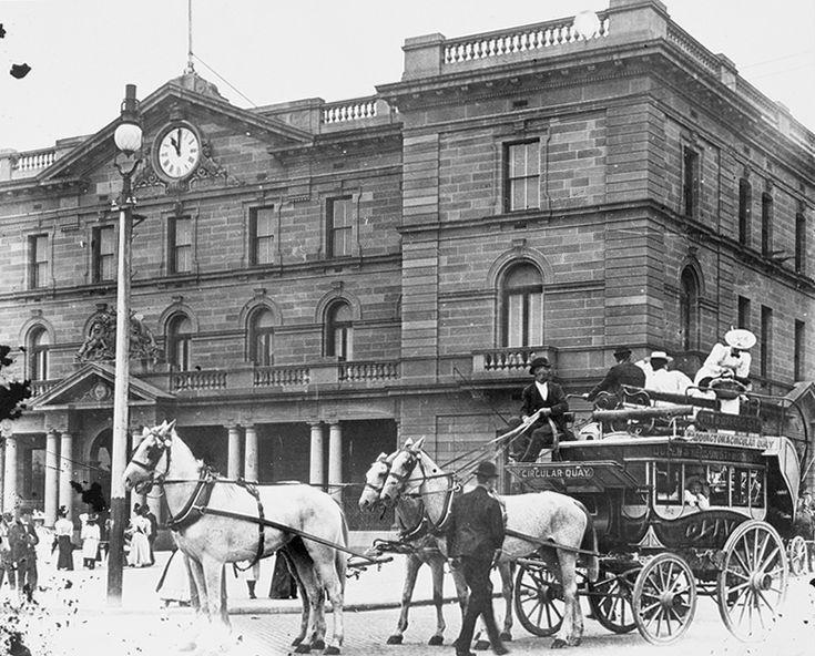 Horse-Drawn Omnibus, at Circular Quay, Sydney, Australia  ca.1900  v@e
