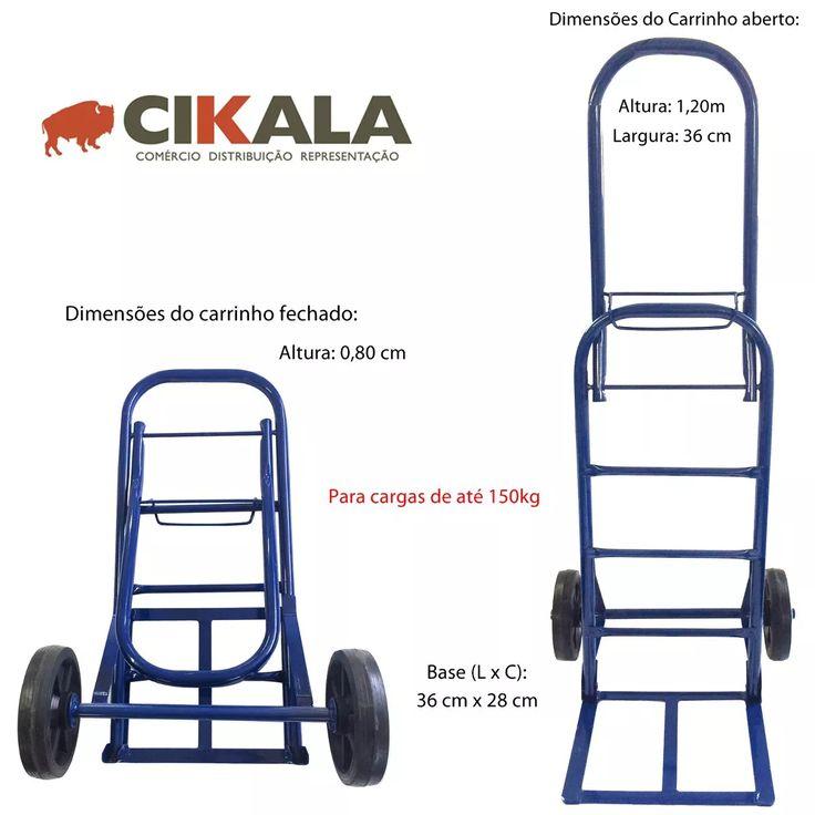 carrinho dobravel armazem transporte roda borracha p/ 120 kg