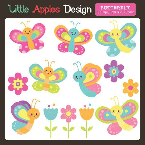 Butterfly Clipart - beautiful pastel colored butterflies and flowers.  great for…