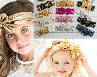 SET DE 5 diademas de bebé algodón niñas cabeza por ThinkPinkBows