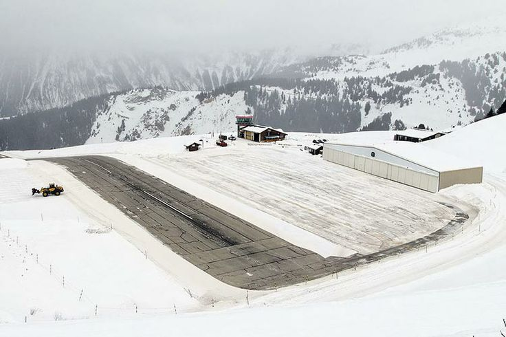 Courchevel Airport: it's short; it's covered in ice; and it's got a big hill in the middle of the runway. Image from Wikimedia Commons.