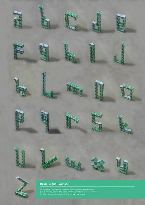 Rubik's Snake Typeface by Anas Kautsar, via Behance