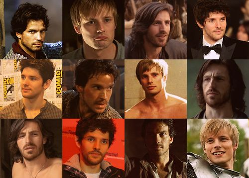I watch Merlin for the well-written plots, the fantastic acting, the witty humour, the dazzling romance, the kick-ass fighting scenes, the great character-development, the mystical creatures, the awesome magic, the emotional roller-coaster, the friggin' talking dragon, and the brilliant dialogue.    HAHAHAHA, WHO AM I KIDDING? I watch it for these guys. ♥