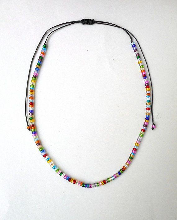 Rainbow Beads Choker Glass bead choker Beaded choker Choker