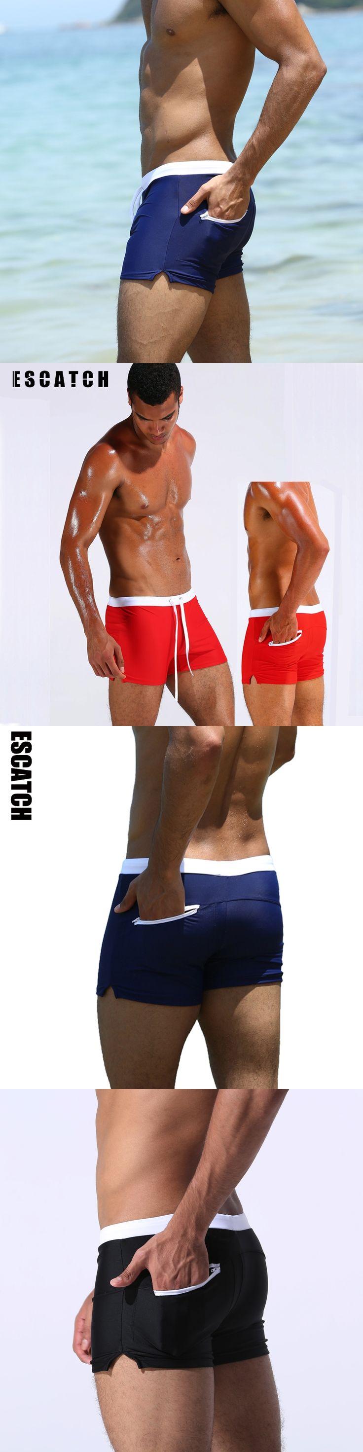 Swimwear men ESCATCH Men's Swimsuits Sexy swim trunks Surf Board Beach Wear Man Boxer Shorts hot mens swim brief