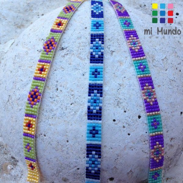 These ethnic beaded bracelets are perfect for ethnic jewelry fans! This colorful miyuki bracelet has an elegant diamond pattern.  This beautiful ethnic bracelet is bead loomed using the finest Japanese Miyuki delica beads.  This ethnic beaded bracelet closes with a super easy adjustable metal clasp or a sliding macrame string.  **Other colors are also available, please contact me!**  - Unique design - Custom made - Made of Japanese Miyuki delica beads with love - Handmade - Adjustable ending…