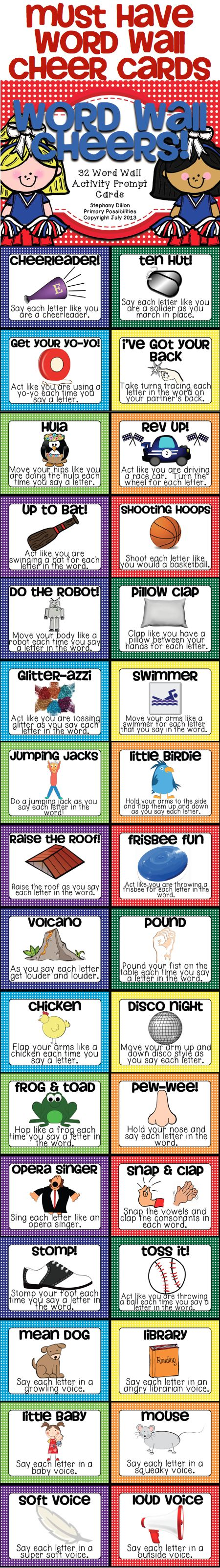 Must have Cheer Cards for your Word Wall...  Use to get your students motivated to learn the sight words! (Ideas for cheer box)