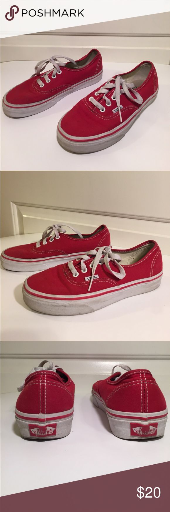Vans Authentic Red Youth Size 6 Vans Authentic Red Size 6. Shoes show signs of wear but are still in fair condition. Vans Shoes Sneakers