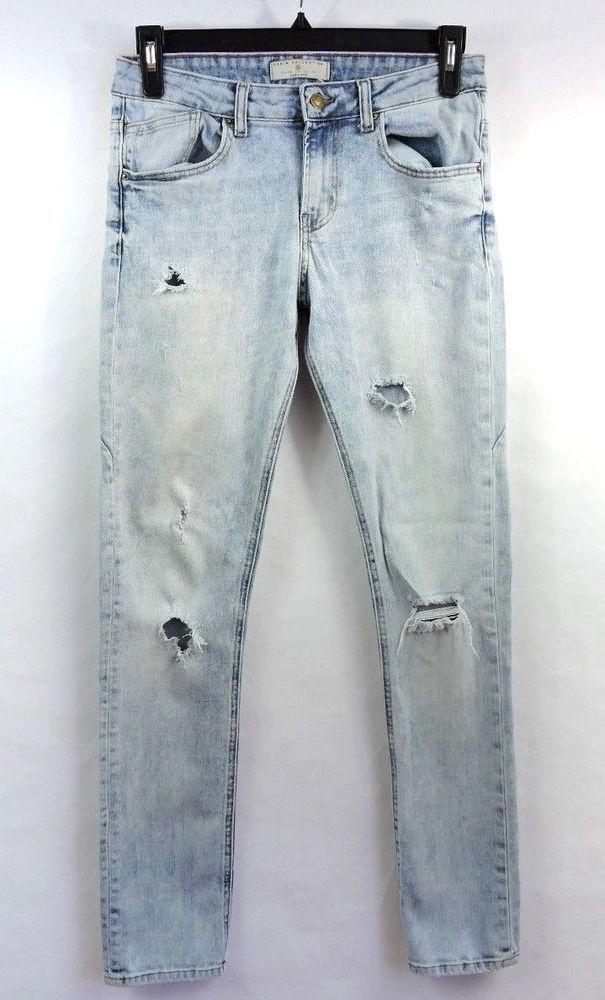 81bd63c7 Zara Men Blue Distressed Destroyed Skinny Jeans Size 30 #Zara #SlimSkinny