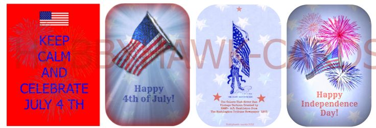 4th of July  ~ Tag Cards  Variety Set 3 cards of each design   Includes: Vintage Cartoons, Fireworks,  American Flag and KEEP CALM