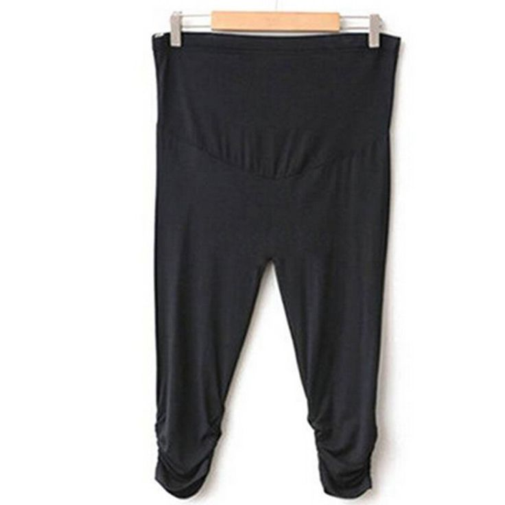 Solid Pleated Cotton Maternity Leggings
