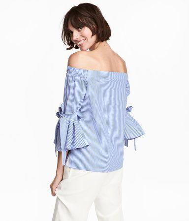 Off-the-shoulder blouse | Blue/Striped | Ladies | H&M RS 2699