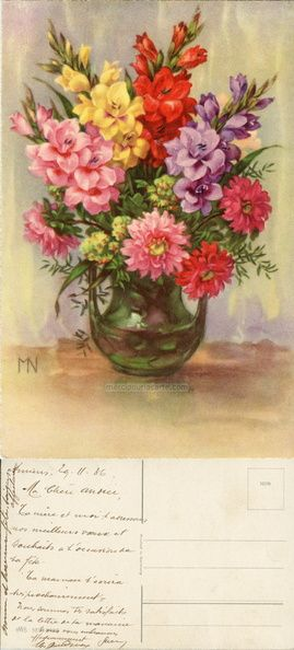 Bouquet de glaïeuls et dahlias dans un vase - HWB SER 5486 - 1936 (from http://mercipourlacarte.com/picture?/94) Éditeur HWB SER 5486 - Illustrateur MN