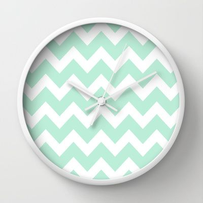 Chevron Mint Green & White Wall Clock