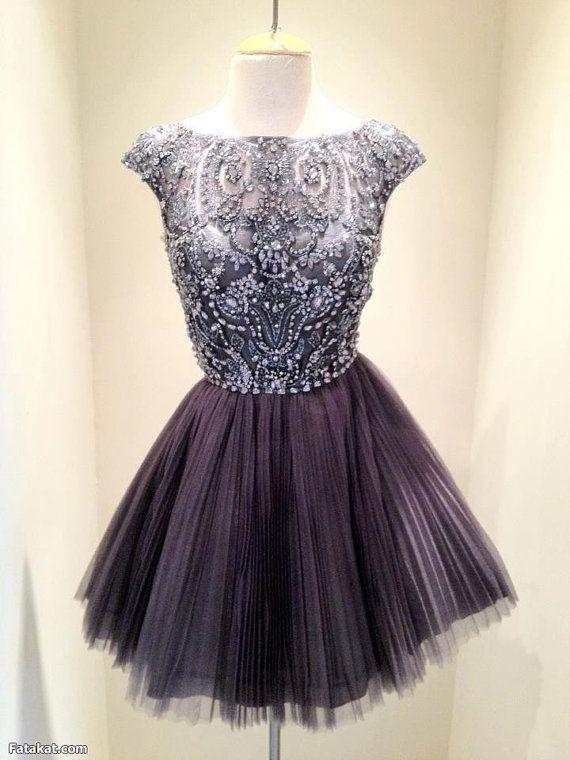 Short Dark Grey Bead Tulle Prom Dress Custom Dress Straps Knee-length Formal Dress Homecoming Dress Party Dress Cocktail Dress 2014