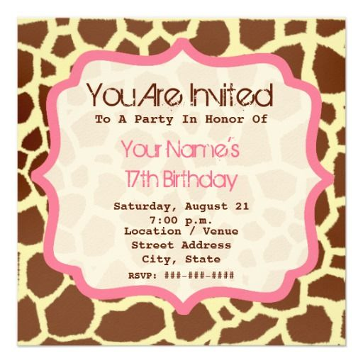 400 best giraffe birthday party invitations images on pinterest giraffe print pink birthday party invitation stopboris Images