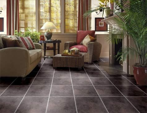 Dark brown floor tiles in the living room floor tile for Living room designs tiles