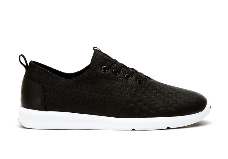 undefined Black Leather Weave Emboss Men's Del Rey Sneakers