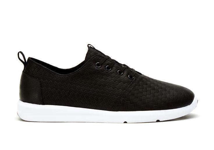 undefined Black Leather Weave Emboss Men's Del Rey Sneakers
