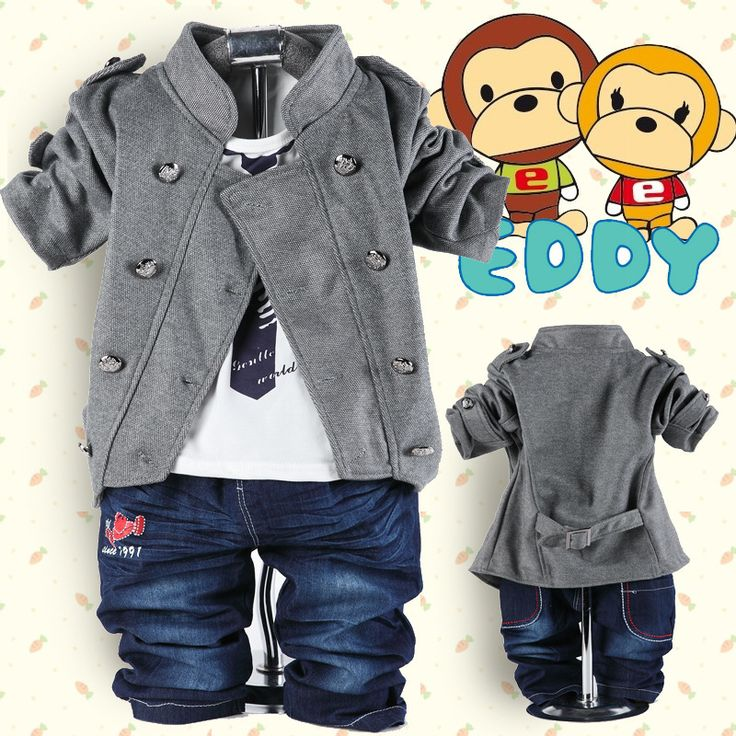 2014 spring autumn cotton denim newborn boys set double breasted coat+t shirt+jeans 3pcs toddler boys suits