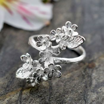 silver forget me not cluster ring by martha jackson | notonthehighstreet.com