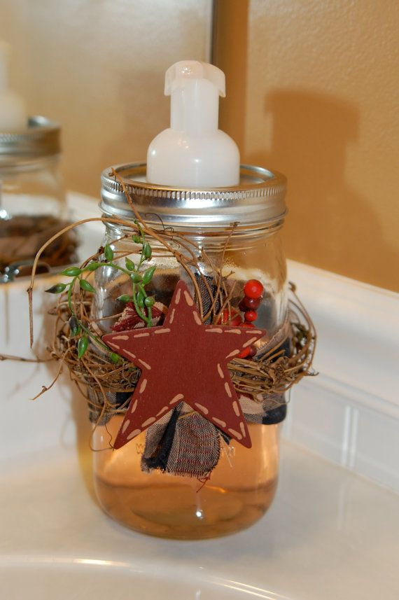 Mason Jar Soap Dispenser - Primitive dont like the thing behind the star but do like the idea!!