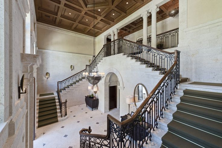 Interior Architecture of Miami Indian Creek Home featured in Architectural Digest  Entry Hall  Foyer  Staircase  Architectural Details  TraditionalNeoclassical by Brian O'Keefe Architect