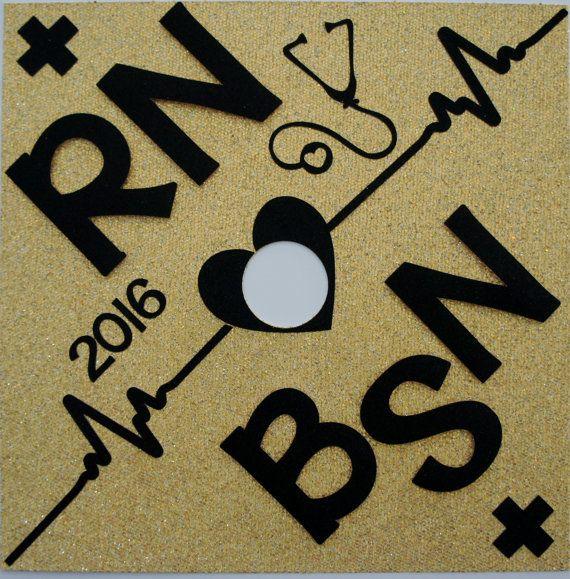 BSN RN Custom Nurse Glitter Graduation Cap Topper By