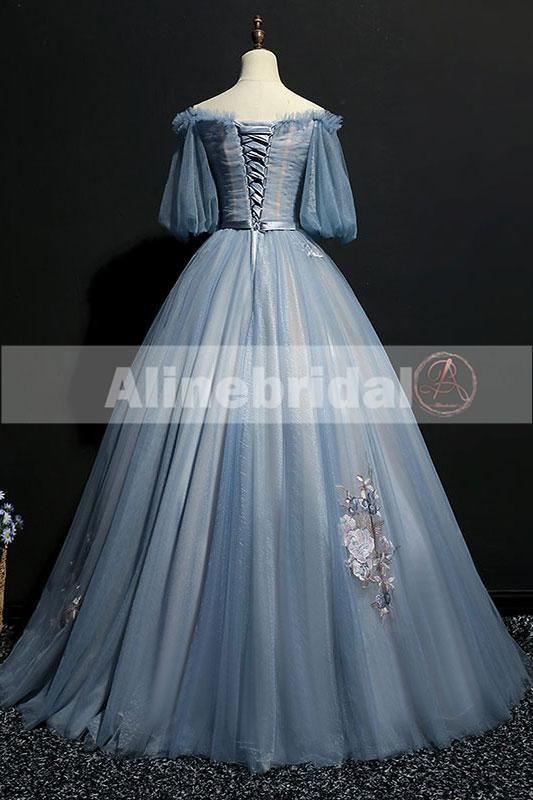 b37b8710c0 Vintage Princess Off Shoulder Half Sleeve Sky Blue Appliques Ball Gown –  AlineBridal