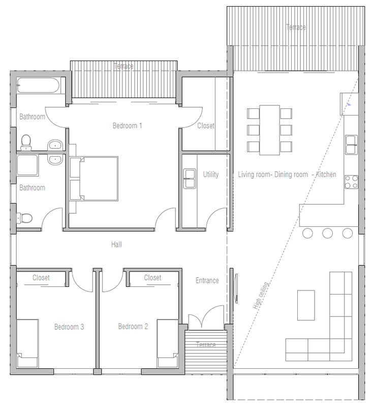 Small house plan CH281, modern architecture, open planning, three bedrooms 1604 sq ft; 3 bdrms, 2 bath, 15 ft ceiling in living/kitchen, walls of glass for view - with a couple of adjustments, this would be a fabulous layout