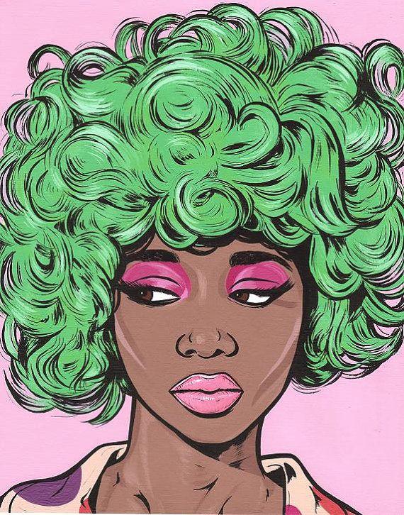 PRINT SALE Green Kawaii Comic Girl by turddemon on Etsy