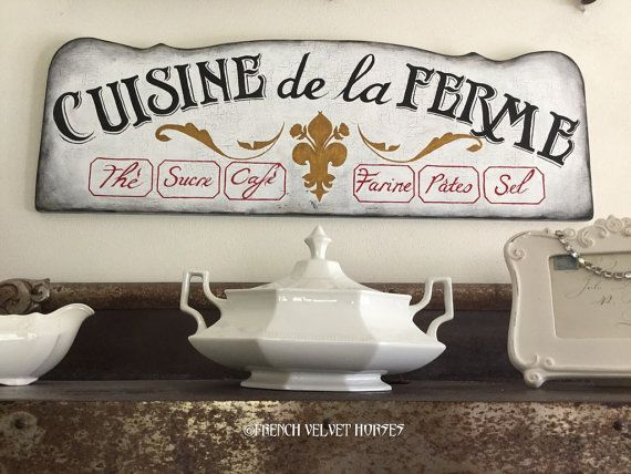 GRAPHICS FAIRY FEATURED French Farm Kitchen By FrenchVelvetHorses Wood Sign  Tea Sugar Coffee Flour Pasta Salt