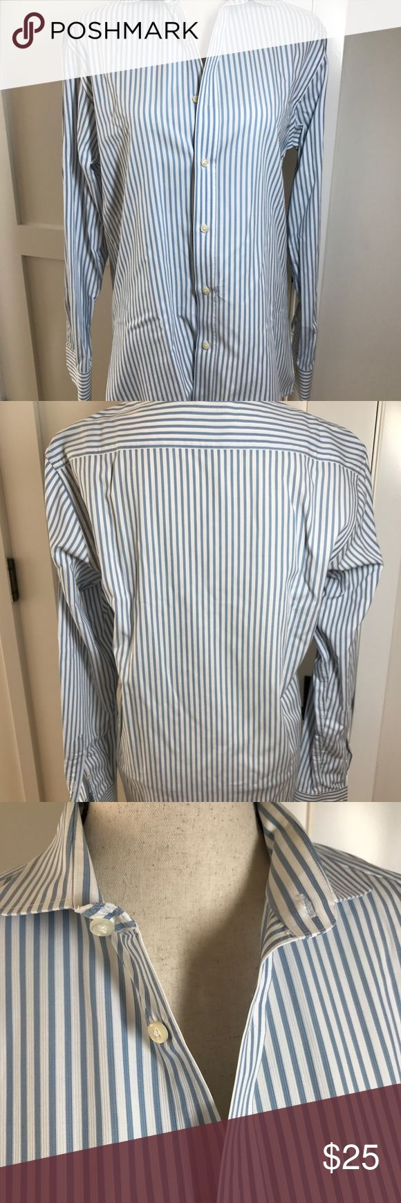 Bloomingdales men's slim fit dress shirt in 16L Bloomingdales men's blue/white striped slim fit dress shirt size 16L. 100% cotton. Gently used but in excellent condition. Crisp and clean and always in style. Looks great with a suit or even jeans. Bloomingdale's Shirts Dress Shirts