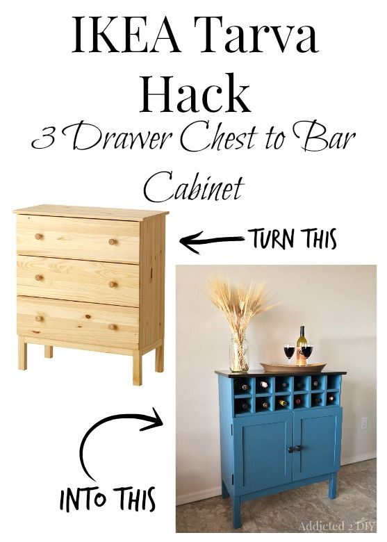 Transform an IKEA Tarva dresser into a gorgeous bar cabinet!  I love the wine cubbies and the glasses hanging inside!