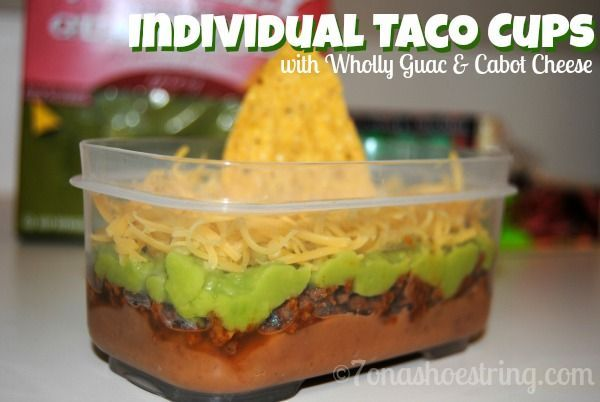 Individual Taco Cups recipe using Wholly Guacamole & Cabot Cheese for a delicious meal that is easy to make and kids love