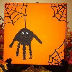 diy Halloween spider hand print canvas. Add a handprint every year and watch them grow!