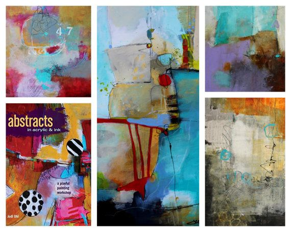 Original Abstract Painting 10 x 10 & Book Presale w/shipping:  Abstracts in Acrylic in Ink Signed book and cover painting print by Jodi Ohl