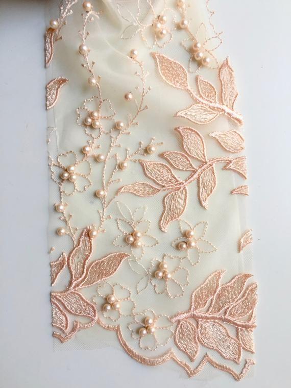 "PEACH Ribbon Embroidery Scalloped Edge Fabric lace Wedding Dress prom yard 50/"""