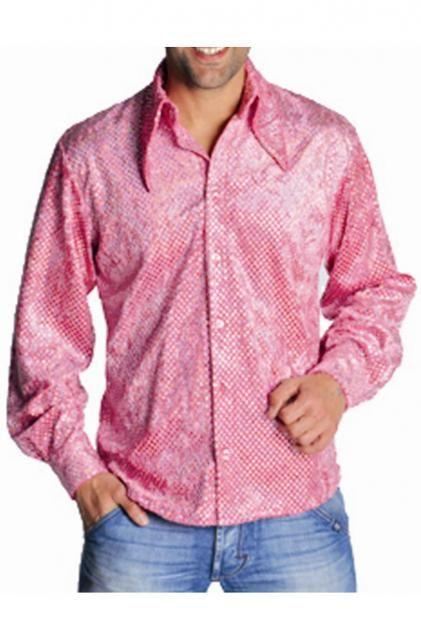 Luccicante iride Camicia uomo velluto rosa con paillettes linea attillata grande colletto a punte effetto spettacolo delle paillettes olografiche che come diamanti riflettono le luci iridescenti e cangianti di Musical e discoteca Tessuto Polyestere 100%