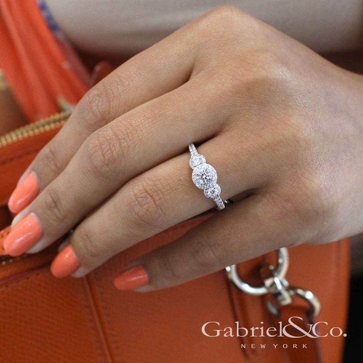 Gabriel NY - Voted #1 Most Preferred Fine Jewelry and Bridal Brand .14k White/Rose Gold Round 3 Stones Halo Engagement Ring