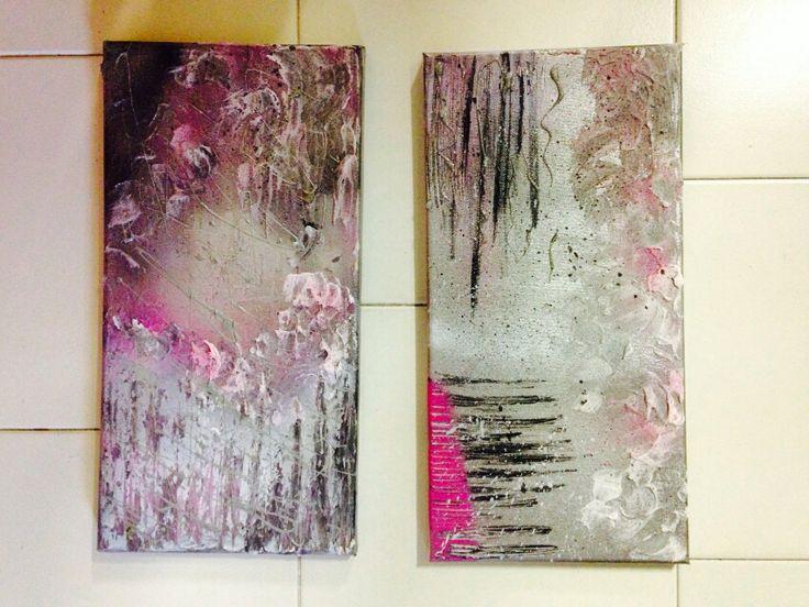 Coppia quadri argento e rosa